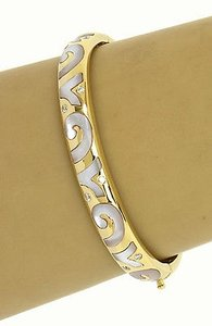 Other 18kt Yellow White Gold .40ctw Diamond Mother Of Pearl Inlay Bracelet