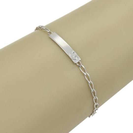 Cartier Cartier 18k White Gold Mini Id Long Tag Oval Link Chain Bracelet