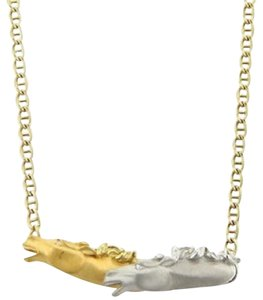 Other 18k Two Tone Gold Diamond Double Horse Head Necklace