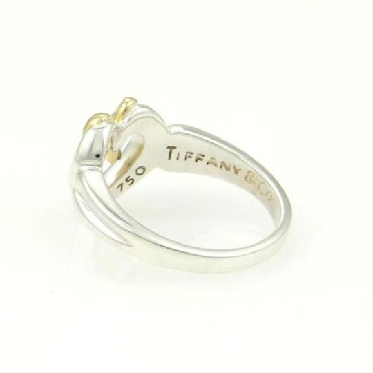 Tiffany & Co. Tiffany Co. Sterling Silver 18k Yellow Gold Open Heart Bow Ring