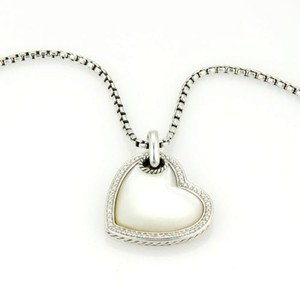 David Yurman David Yurman 925 Silver Mother Of Pearl Diamond Heart Pendant Necklace