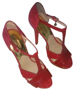 Michael Kors Crocodile Calf Hair Dark Red Pumps