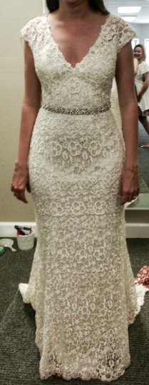 Saison Blanche Ivory Lace Gown with Silk Charmeuse Liner Boutique Feminine Dress Size 6 (S)