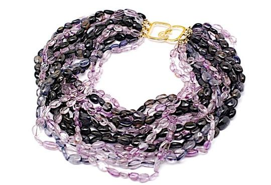 Kenneth Jay Lane KENNETH LANE Purple/Charcoal 14 Strand AMETHYST/TOPAZ Necklace w/Gold Clasp- 18""
