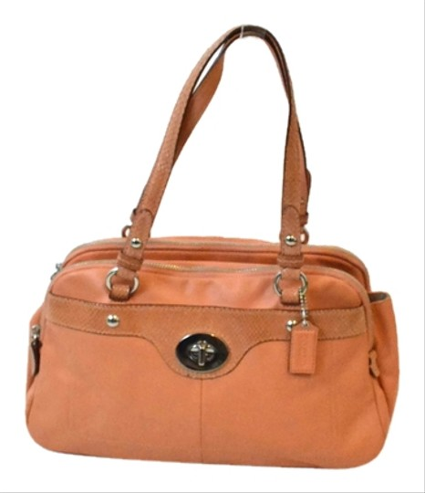 Coach Leather Classic Snakeskin Turnlock Satchel in Peach