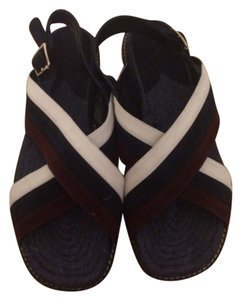 Theory Suede Jute Burlap Navy / Burgundy Sandals