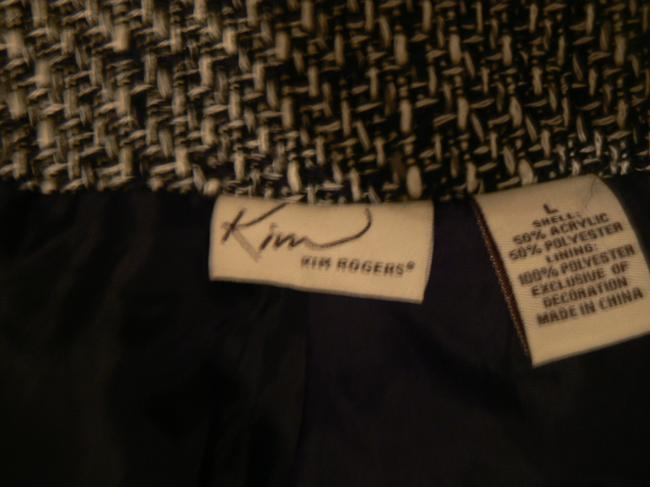 Kim Rogers Fully Lined Front Hidden Snaps 3/4 Sleeves Women's Black/White Jacket