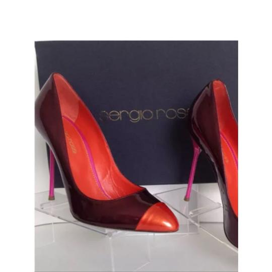 Sergio Rossi Burgandy/Autum Orange/Pink Pumps