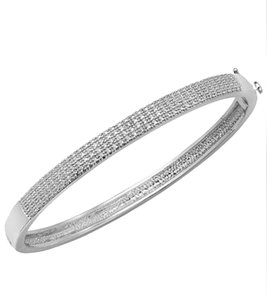 Macy's Sterling Silver-Plated Diamond Accent Hinge Bangle Bracelet