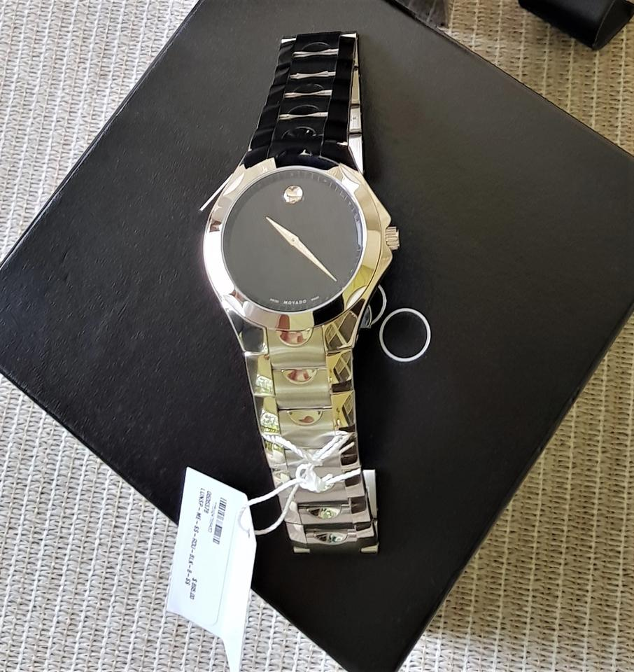 men trusted movado authentic luno mens seller sale on steel watches black s a htm for dial from xxl