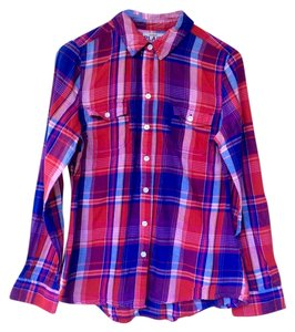 Old Navy Button-up Button Down Shirt Red and Blue