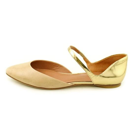 Sigerson Morrison Mary Jane Patent Leather Pointed Toe Gold Flats