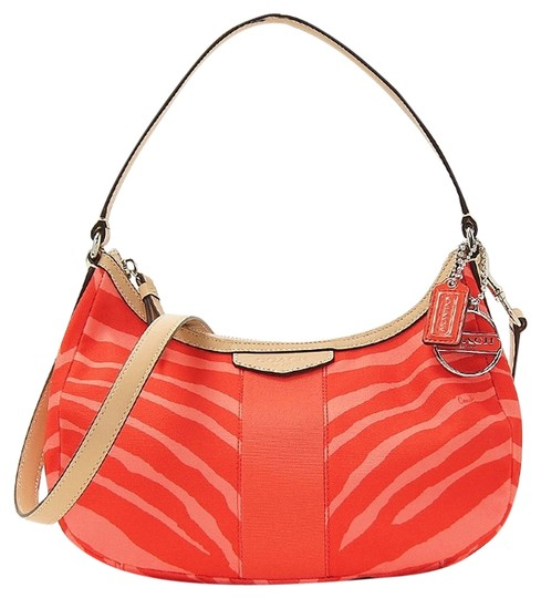 Preload https://item2.tradesy.com/images/coach-signature-stripe-zebra-print-pink-tulletan-crossbody-purse-f27386-hot-orange-canvas-satchel-5955301-0-2.jpg?width=440&height=440