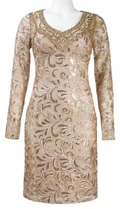Sue Wong Soutache Long Sleeve Sheath Gold Dress