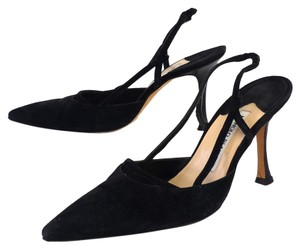 Manolo Blahnik Black Suede Pointed Toe Pumps