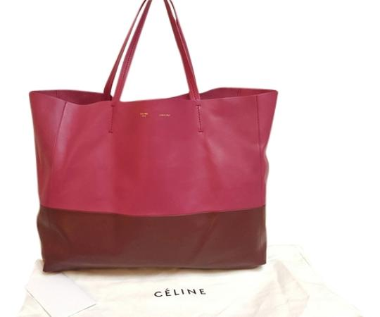 Céline Cabas Horizontal Tote in burgundy and plum pink
