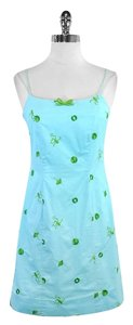 Lilly Pulitzer short dress Blue Green Embroidered Cotton on Tradesy