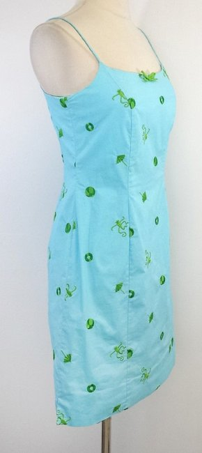 Lilly Pulitzer short dress Blue & Green Embroidered Cotton on Tradesy