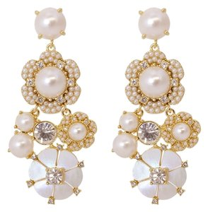 Kate Spade New! Kate Spade Park Floral Pearl and Crystal Chandelier Eartings