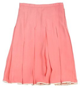 Jill Stuart Coral Silk Pleated Skirt Flamingo
