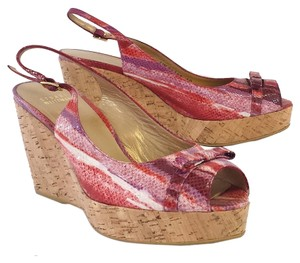Stuart Weitzman Pink Cork Sandals Wedges