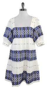 Tibi short dress White Blue Embroidered Cotton on Tradesy
