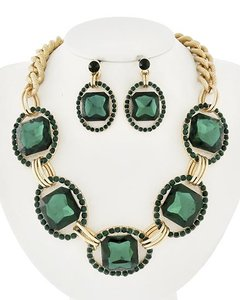 Sophia Eugene Gold Tone Green Glass Rhinestone Necklace & Earrings