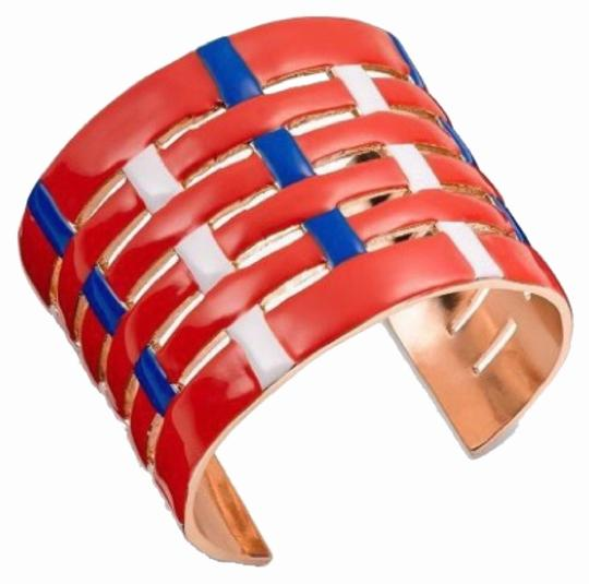 Tory Burch Tory Burch Red/blue And And Gold Large Cufd Bracelet New