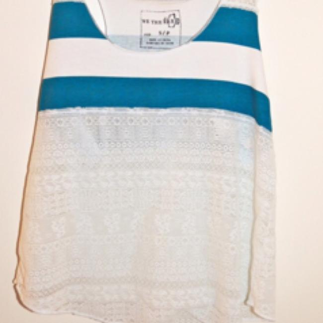 Free People Top Blue and white lace