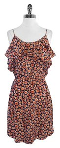 Rebecca Taylor short dress Navy Pink Floral Print Silk on Tradesy