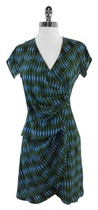 Derek Lam short dress Blue Green Print Silk on Tradesy
