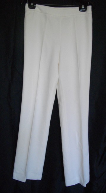 Kasper Single Breasted 4 Small S Ivory One Button Pants Suit