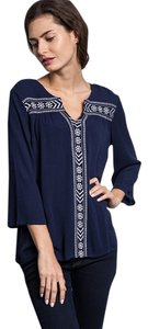 Umgee Embroidered Trim Top Navy