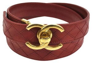Chanel Chanel Red Leather Quilted CC Logo Buckle Belt