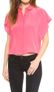 Rebecca Minkoff Silk Short Sleeve Button Front Closure Top guava / pink
