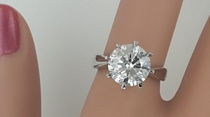 3.61 Ct D/si3 Round Diamond Solitaire Engagement Ring 14 K White Gold