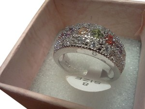 Other 925 sterling silver ring with multi colored stones, size 8