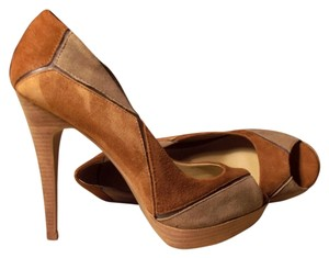 Other Dsw Platform Peep-toe Patchwork Genuine Suede cognac/British tan/taupe Pumps