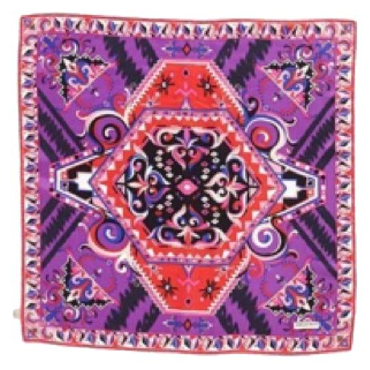 Emilio Pucci Emilio Pucci Pink And Purple Large Silk Square Scarf New With Tags