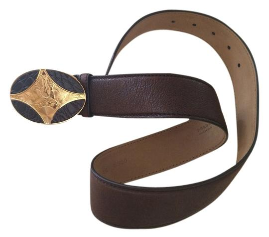 Prada Authentic PRADA brown leather belt with gold tone buckle, size 75/30.