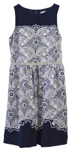 Ann Taylor LOFT Paisley Blue Boatneck Full Skirt Dress