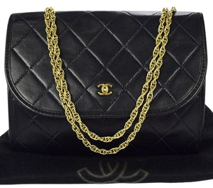 Chanel Auth CHANEL CC Logos Quilted Chain Shoulder Bag Leather Black Vintage woc