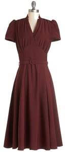 Collectif Vintage 1940 Modcloth Retro Burgundy Dress