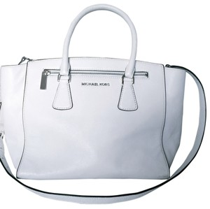 Michael Kors Leather Designer Leather Satchel in Optic White