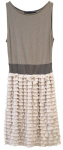 Zara short dress Taupe and Cream Tank Tiered Ruffle on Tradesy