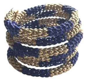 Rain Fashion Jewelry Blue and Gold Coil Bracelet