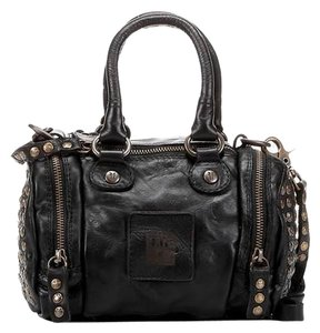 Frye Vintage Studded Leather Long Strap Small Handle Zippers Satchel in BLACK - WITH BRASS STUDS