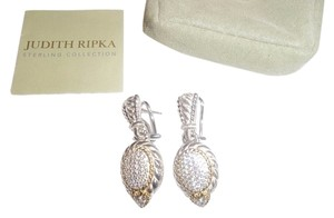 Judith Ripka NEW(CLIP-ON) Judith Ripka (Sterl+18K Clad) Pave' Diamonique*Omega Earrings
