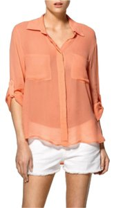 Sanctuary Clothing Shirt Tail Sheer Top Peach