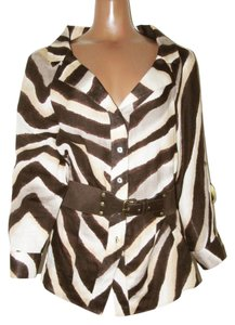 Lafayette 148 New York Zebra Animal Print Belted Tunic Linen Ivory & Brown Jacket